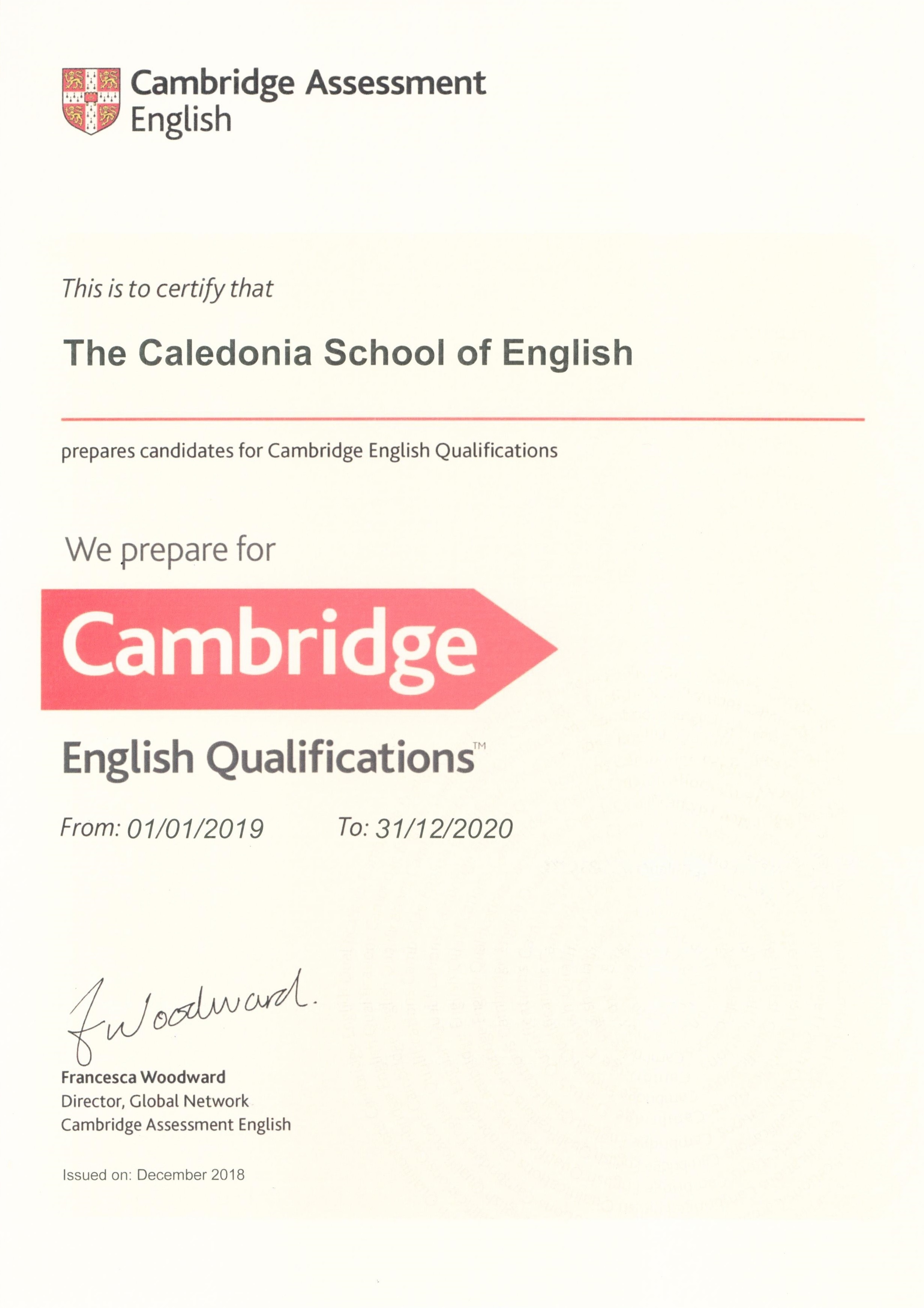 CAMBRIDGE ENGLISH Language Assessment Exam Preparation Centre 2019 y 2020