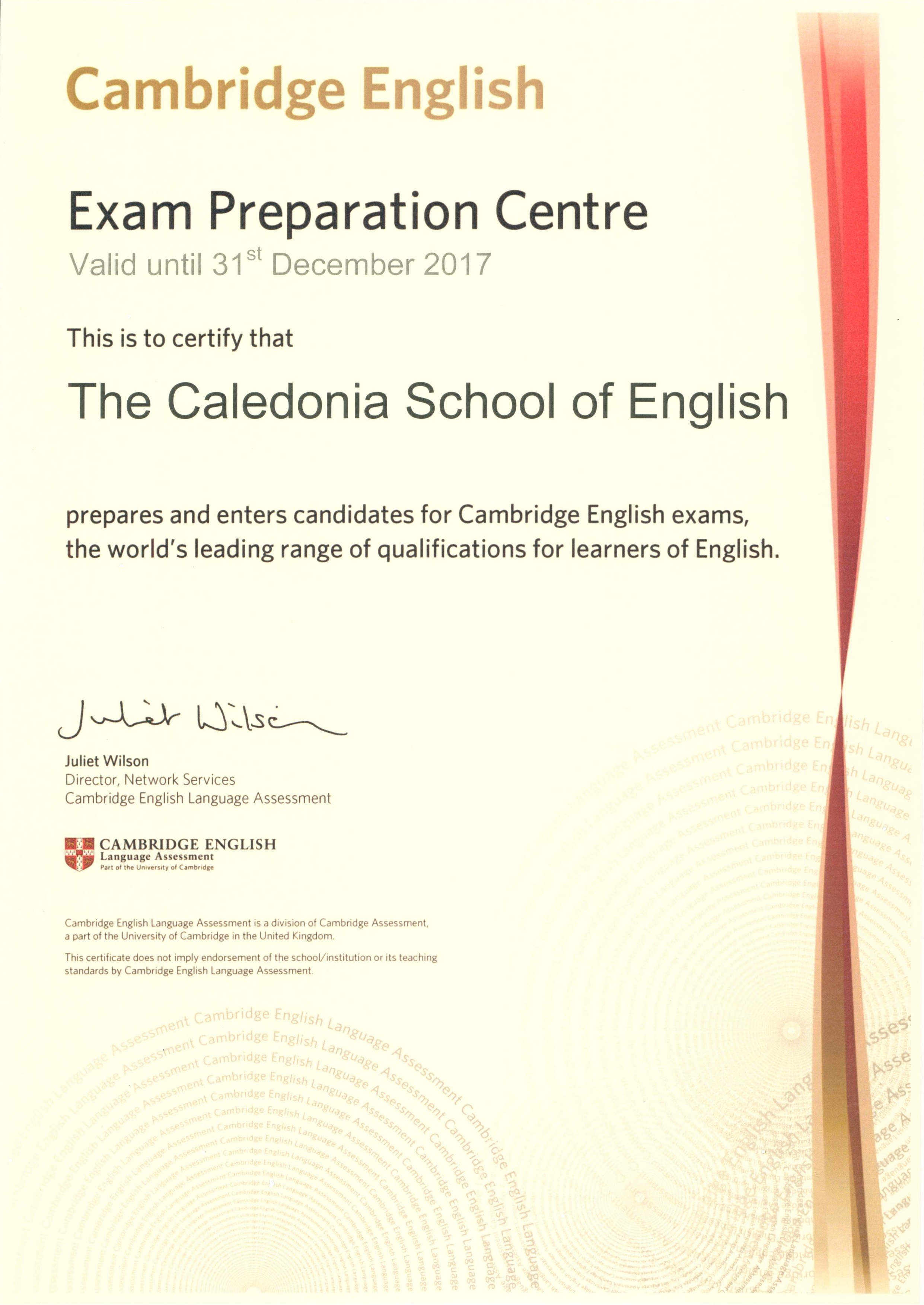 CAMBRIDGE ENGLISH Language Assessment Exam Preparation Centre 2017