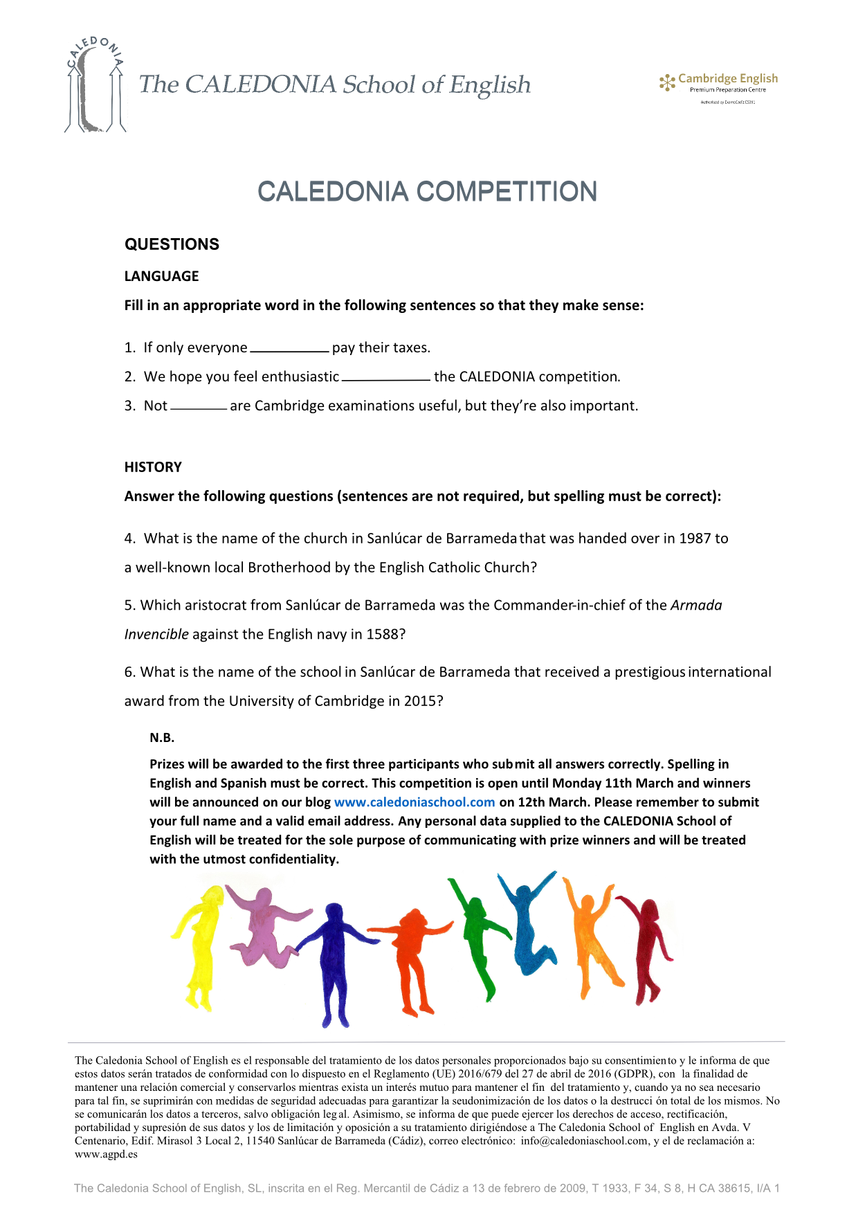 caledonia competition questions
